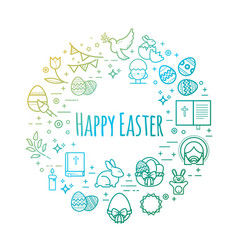 celebration easter signs happy easter outline vector image vector image