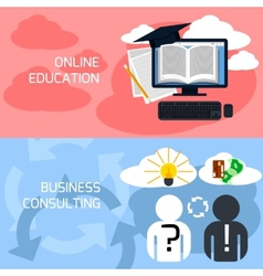 Concept of online education business consulting vector