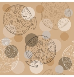 Doodle style pizza seamless background vector image