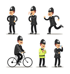 english policeman cartoon police officer vector image