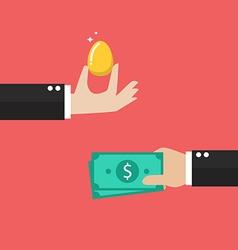Exchange golden egg with money vector image vector image