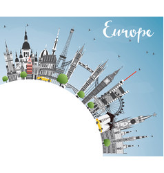 famous landmarks in europe with copy space vector image vector image