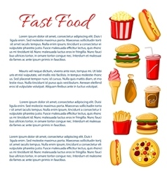 Fast food meal poster snacks drinks information vector