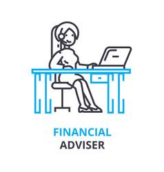 financial adviser concept outline icon linear vector image vector image