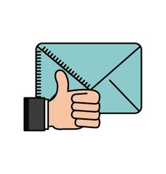 Hand and envelope icon vector