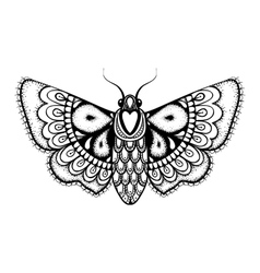Hand drawn artistically black butterfly vector