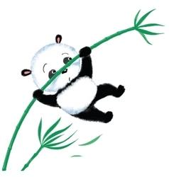 Jumping Panda on bamboo vector image