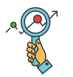 magnifying glass charts market research zoom in vector image
