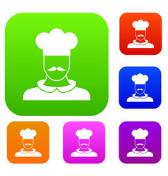 male chef cook set collection vector image