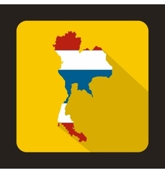 Map of thailand in thai flag colors icon vector