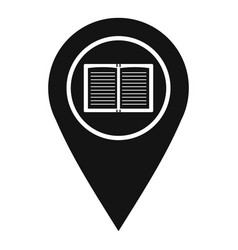 Map pointer with book icon simple style vector