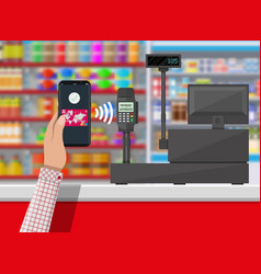 Nfc payment in supermarket vector
