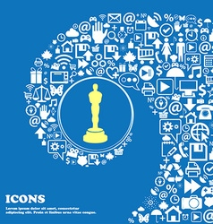 Oscar statuette sign icon Nice set of beautiful vector image