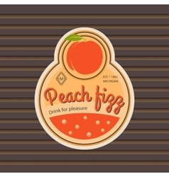 Peach fizz retro fruit label vector image vector image