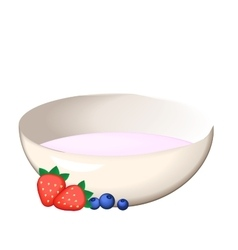 plate with yogurt and vector image