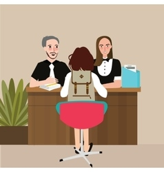 School student conversation with principal teacher vector