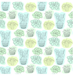 seamless pattern with succulent flowers in pots vector image vector image