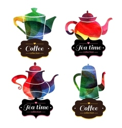 Set of tea and coffee labels watercolor emblems vector