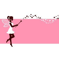 Silhouette of fairy with magic wand vector image