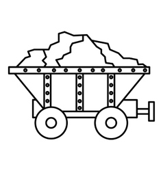 Small coal trolley icon outline style vector