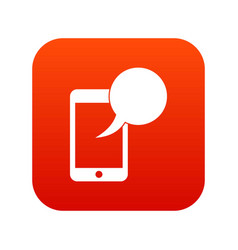 speech bubble on phone icon digital red vector image vector image