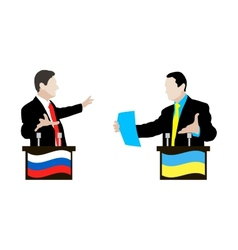 The debate between ukrainian and russian speakers vector