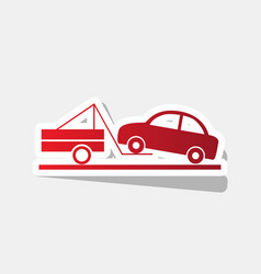 Tow truck sign new year reddish icon with vector