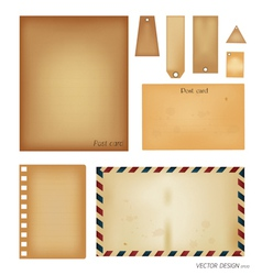 Vintage postcard envelope set vector image