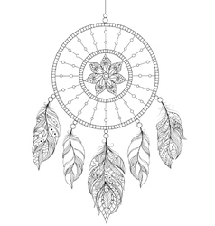 Dreamcatcher on white background vector