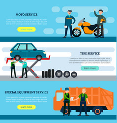 Colorful repair services horizontal banners vector