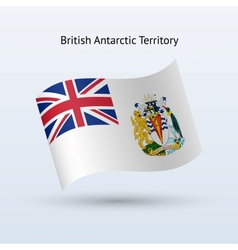 British antarctic territory flag waving form vector