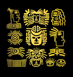 Tribal face drawings set golden symbols vector