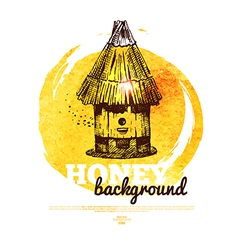Honey banner with hand drawn sketch and watercolor vector