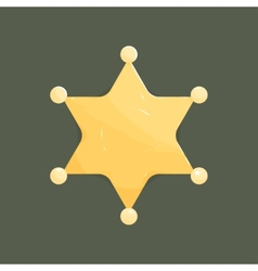 Blank golden sheriff star isolated on dark vector
