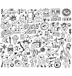 Computer games - doodles set vector