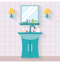 Bathroom sink with mirror vector image