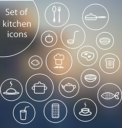 Set of stylish flat simple kitchen icons vector