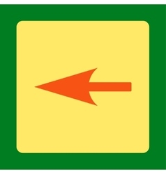 Sharp left arrow flat orange and yellow colors vector