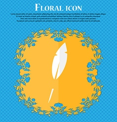 Feather sign icon retro pen symbo floral flat vector