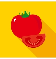 Red ripe tomato in flat style vector