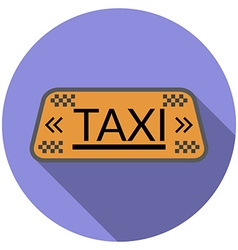 Flat design taxi icon with long shadow isolated vector