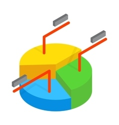 Business pie chart icon isometric 3d style vector