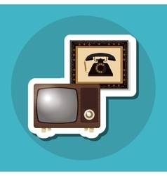 Colorful retro tv design vector