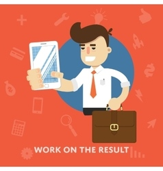 Businessman with tablet computer works on result vector