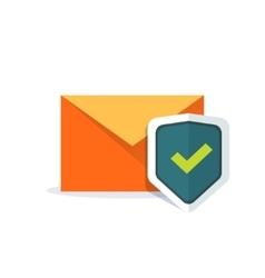 Email security concept orange e-mail envelope vector