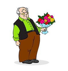 Old man with a bouquet of flowers smiling vector
