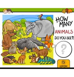 Count animals activity for children vector