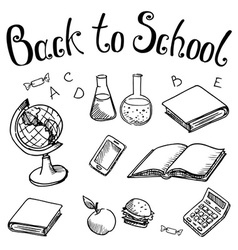 Back to school school subjects on on a white vector