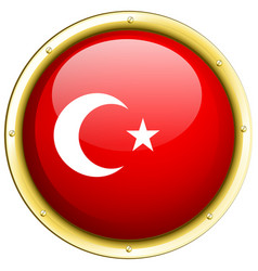 badge design for flag of turkey vector image vector image