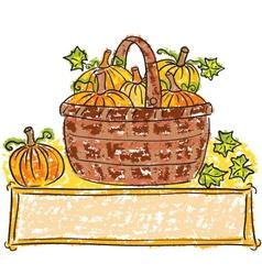 Basket with pumpkins vector